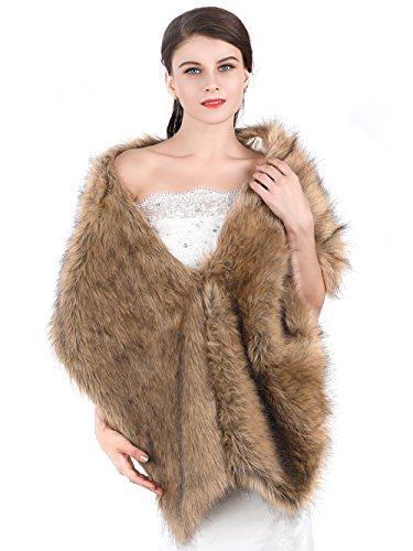 Aukmla Women's Fur Wraps for Wedding Faux Stole Shrug Winter Bridal Wedding Cover Up (Brown, 2 style) (long style fur)