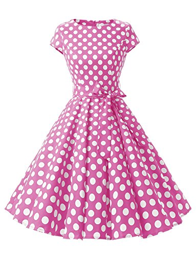 (Dressystar DS1956 Women Vintage 1950s Retro Rockabilly Prom Dresses Cap-Sleeve S Pink White Dot B)
