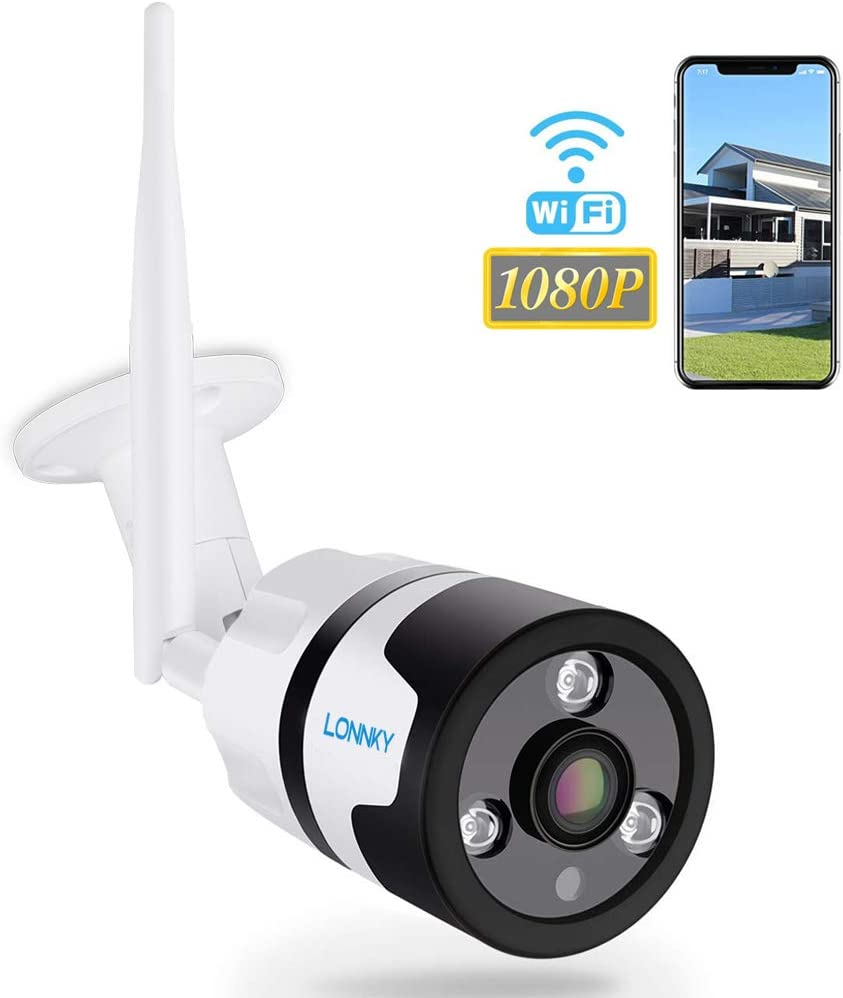 LONNKY 1080P Full HD WiFi IP Security Bullet Camera Outdoor, 2-Way Audio,Fish Eye Wide Viewing Angle,Waterproof and Motion Detection,Clear Night Vision and Metal Shell,Up to 128GB Micro SD Card