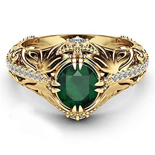 (Kintaz Women's Engagement Wedding Ring European and American Fashion Luxury Simulation Green Diamonds Jewelry (7, Gold))