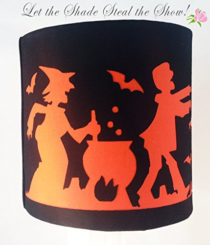 Black Halloween fabric lampshade with Spooky Scene cut
