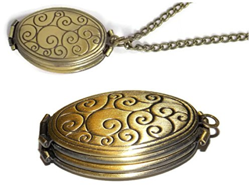 Image Locket (Four Photo Locket Necklace - Ornate Polished Bronze Toned Swirl Locket - 4 Fold Holds 4 Pictures - Old School Geekery TM Photo Locket - Insert Your Own Family Photos or Keepsake Images)