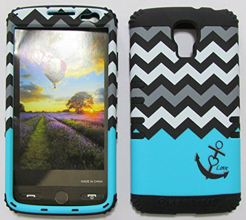 FOR LG VOLT VOLT LS740 BOOST, VIRGIN MOBILE LOVE ANCHOR CHEVRON BLACK WHITE BLUE BK-TE703 RUGGED HYBRID CELL PHONE COVER PROTECTOR FACEPLATE HARD CASE AND BLACK SKIN WITH STYLUS PEN