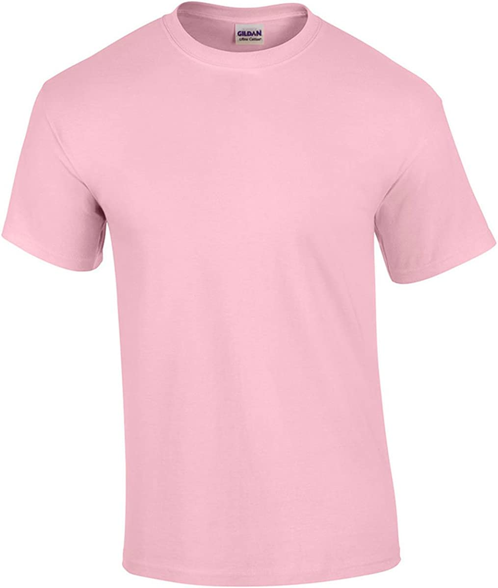Gildan G5000 100% Cotton Short-Sleeve Tee - Light Pink - XL
