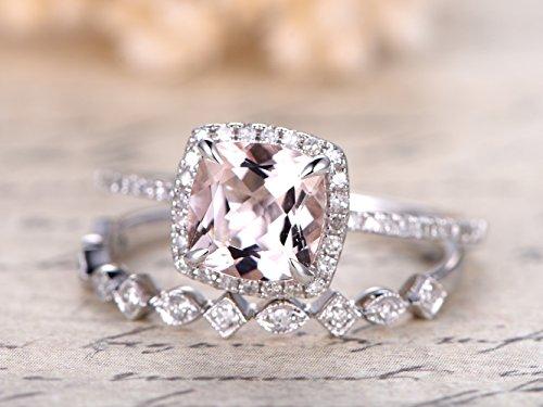 Pink Morganite Engagement Ring Set,7mm Cushion Cut Natural Morganite Stone 14k White Gold Claw Prong Halo Thin Band,Half Eternity Diamonds Milgrain Stacking Rings Art Deco Anniversary Gift 2pcs