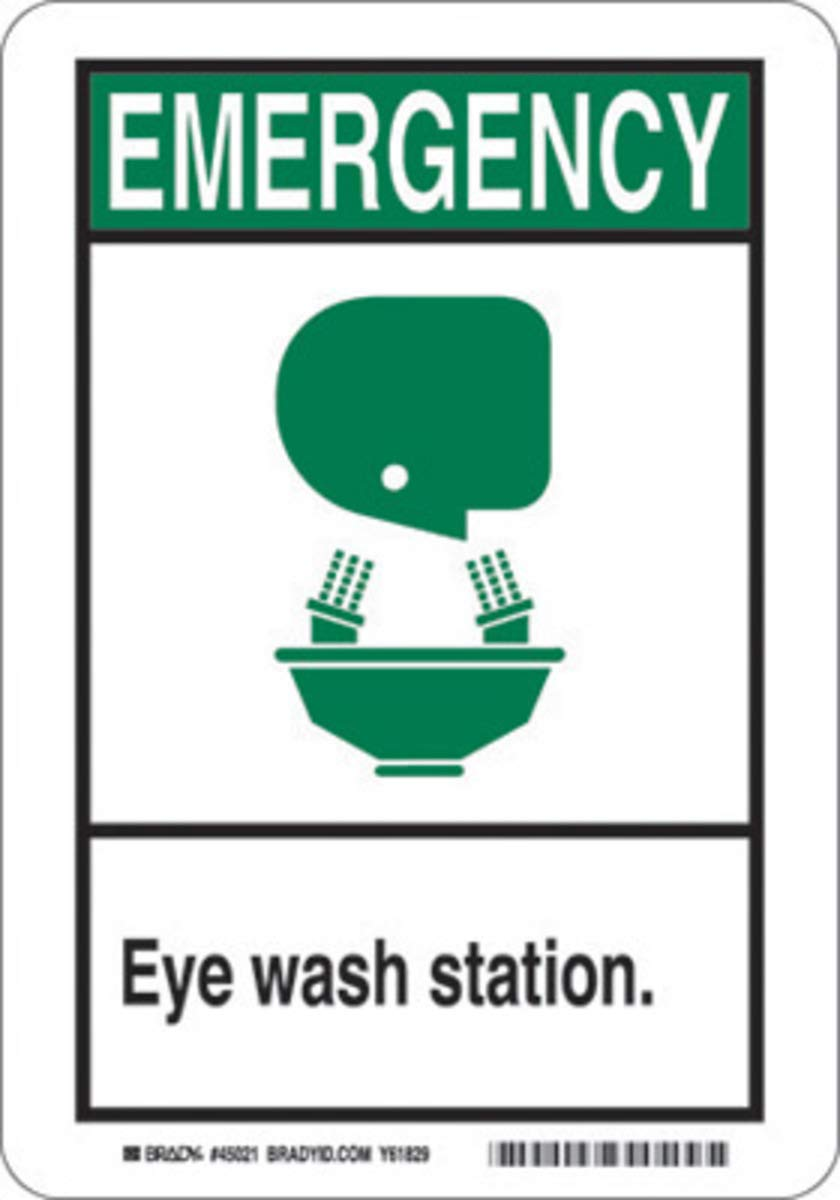 Brady 14'' X 10'' X .035'' Black/Green On White B-555 Aluminum Office And Facility Sign''EYE WASH STATION.''