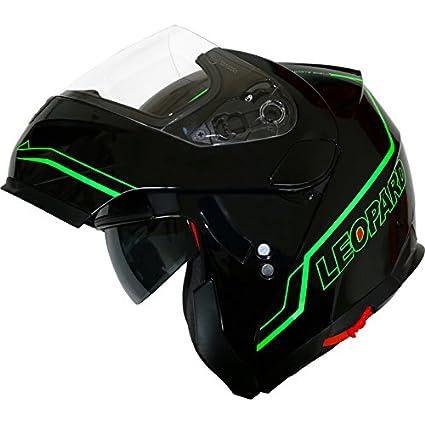 Leopard LEO-838 Safari Modular DOUBLE SUN VISOR Flip up Front Motorbike Motorcycle Helmet Matt Black/White L (59-60cm) Touch Global Ltd