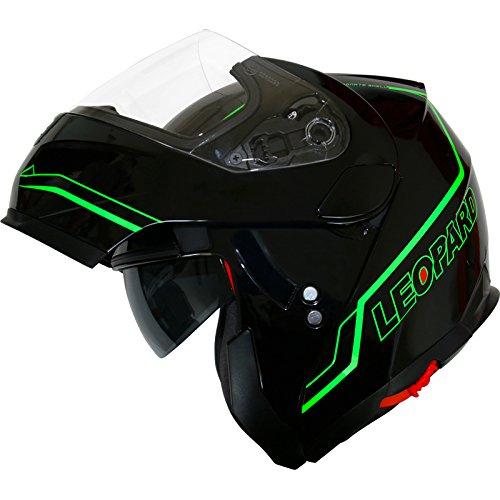 Leopard DVS Double Visor Modular Flip up front Motorcycle Motorbike Scooter...
