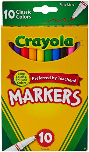 Crayola Original Marker Set, Fine Tip, Assorted Classic Colors, Set of 10]()