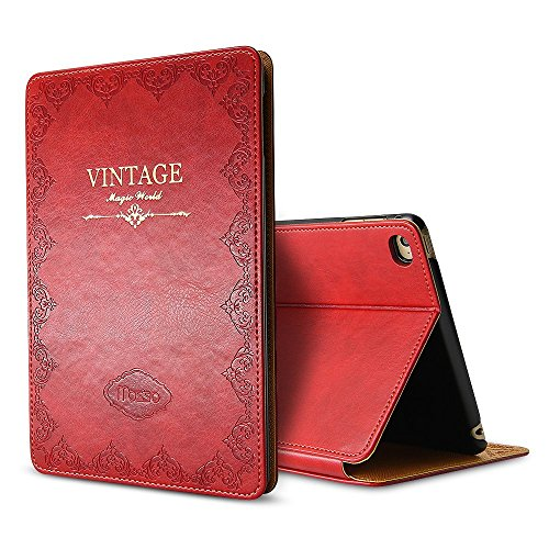 iPad Mini 1 2 3 Vintage Pattern Protective Case, Miniko(TM) Old [Book Style] Classic Case Cover Vintage Premium PU Leather Smart Folio Case Auto Sleep Wake Slim Fit Stand for iPad Mini 1 2 3 Red by Miniko
