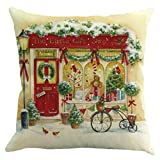 Merry Christmas Square Decorative Throw Pillow Cases Cotton Linen Sofa Cars Bed Chair Seat Waist Cushion Covers Pillowcases Santa Claus Deer Tree, 18''x18'' Inch, Home Decor Xmas Gifts (18''x18'' Inch, G)