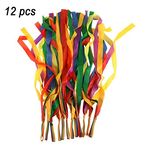 TOPTIK 12 PCS Rainbow Ribbon Set for Kids,Rhythm Ribbon Dance (Worship House He Keeps On Doing Great Things)