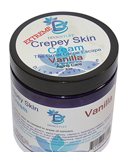 Extreme Crepey Skin Body & Face Cream With Hyaluronic Acid, Alpha Hydroxy and More, by Diva Stuff (Vanilla)