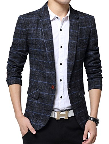 Men's Casual One Button Slim Fit Blazer Suit Jacket (L, 603Navy) by Benibos