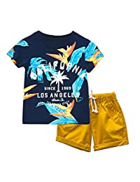 KISBINI Boys California Summer clothes Set T shirt and Short