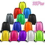KUUQA 15Pcs Multicolor Drawstring Backpack Bags Sports Cinch Sack String Backpack Storage Bags for Gym Traveling (Colorful 15pcs)
