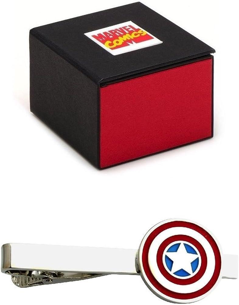 Captain America Avengers Silver Tone Tie Clip - 2.1 Inch in Marvel Comics Gift Box