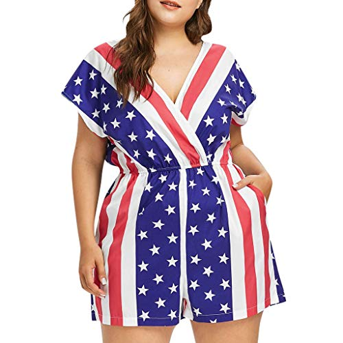 (Mbtaua Women Ladies Stars Stripe Flag Print Plus Size Romper Jumpsuit for 4th of July Blue)