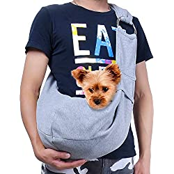 TOMKAS Small Dog Cat Carrier Sling Hands Free Pet Puppy Outdoor Travel Bag Tote Reversible (Gray-Adjustable)