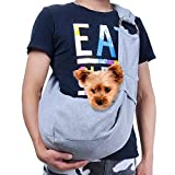 TOMKAS Small Dog Cat Carrier Adjuastable Sling Hands Free Pet Puppy Outdoor Travel Bag Tote Reversible (Gray Adjustable)
