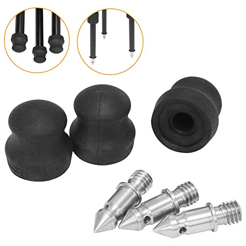 (Selens Tripod Spike with Washers Set of 3 Stainless Steel Camera Spikes with 3/8'' Screw Compatible with All Kinds of tripods and monopods)