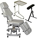 InkBed Tattoo Package: Patented Gray Ink Bed, Extra Large Chrome Double-post Mayo Instrument Tray, Adjustable Arm & Legrest for Studio Equipment