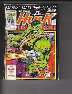 Der unglaubliche Hulk Marvel Maxi-Pocket Nr. 33 Taschenbuch – 1993 Marvel Comics B0026ZVB6O