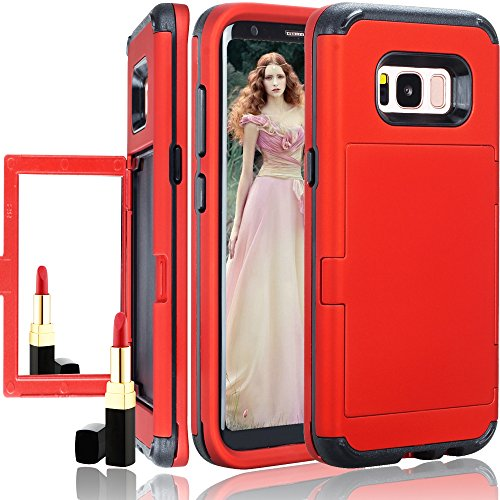 Price comparison product image Galaxy S8 Wallet Case, Auker Girly Shockproof Dual Layer Armor Card Holder+Makeup Mirror Design Military Grade Rubber Grip Rugged Protective Full Body Purse Case for Samsung Galaxy S8 (Red)