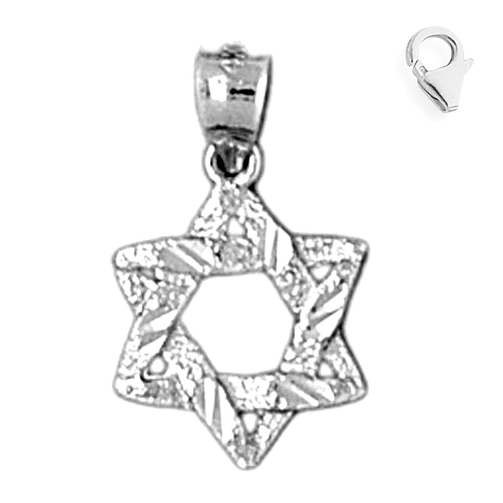 Jewels Obsession Star Of David Pendant Sterling Silver 18mm Star Of David with 7.5 Charm Bracelet