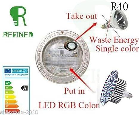 RGB Piscina Luces Bombilla LED E27 18 W AC12 V para Pentair Hayward luz: Amazon.es: Jardín