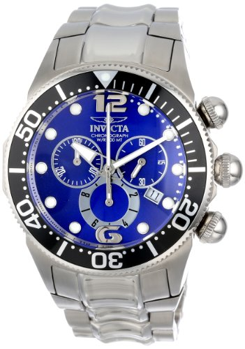 Chronograph Stainless Steel Ring (Invicta Men's 14196 Lupah Chronograph Blue Dial Stainless Steel Watch)