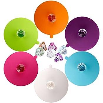 Food Grade Silicone Cup Lids, IPHOX Creative Diamond Mug Cover [Set of 6] Anti-dust, Airtight Seal, Silicone Drink Cup Lids, Hot Cup Lids (Diamond)