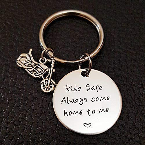 - Biker Ride Safe Key Chain, Always Come Home to Me, Handstamp Be Safe Gift