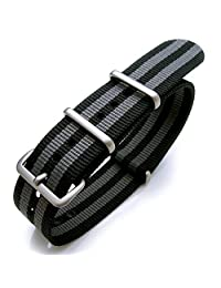 22mm NATO G10 Nylon Strap, Classic James Bond Black & Grey Stripes, Brushed