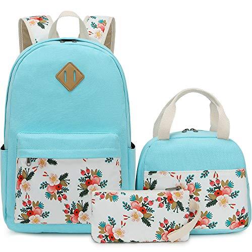 BLUBOON Teens Backpack Set Canvas Girls School Bags Bookbags 3 in 1 (E0079-Water Blue) ()