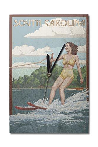 - Lantern Press South Carolina - Water Skier and Lake (10x15 Wood Wall Clock, Decor Ready to Hang)