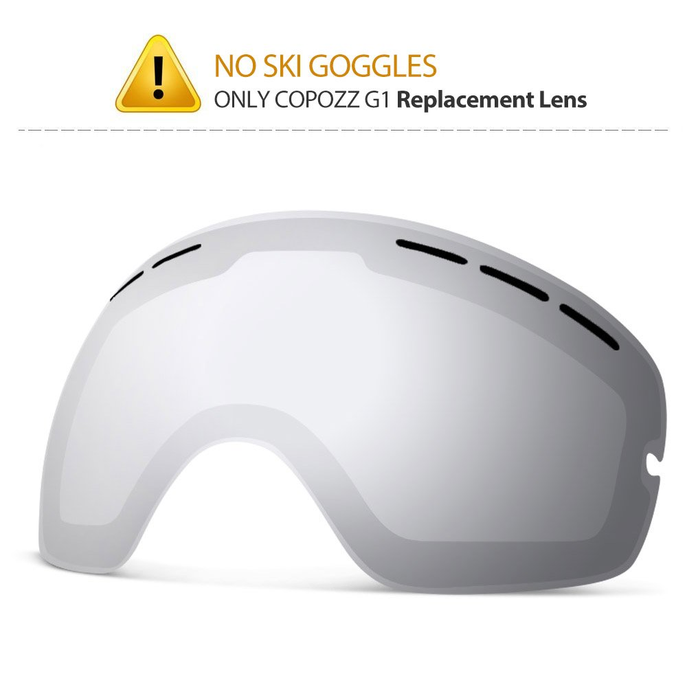 COPOZZ Anti-fog Ski Goggles - Wide Vision Anti-scratch Anti UV 400 OTG Comfortable Goggles with Detachable Dual Layer Lens, 03Silver lens VLT 18.5% by COPOZZ