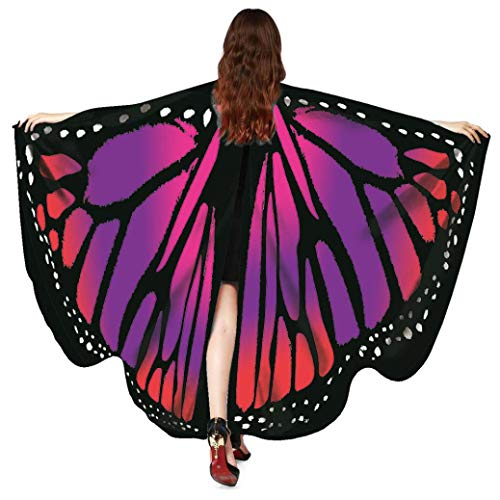 FEITONG Halloween Women Butterfly Wings Shawl Scarves Ladies Nymph Pixie Poncho Costume Accessory, 168x135cm(168x135cm,B-Red) ()