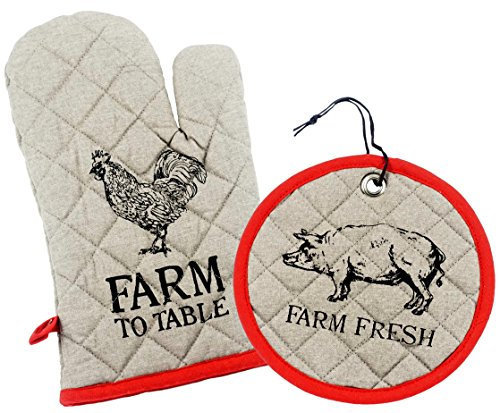 Cow Oven - Farm to Table Southern Themed Quilted Pot Holder & Oven Mitt Set