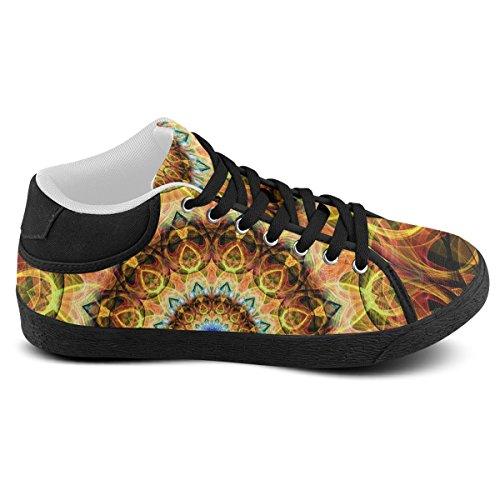 Artsadd Yellow Brown Ochre Glass Mandala Chukka Canvas Shoes For Women(Model003) y3Hk2