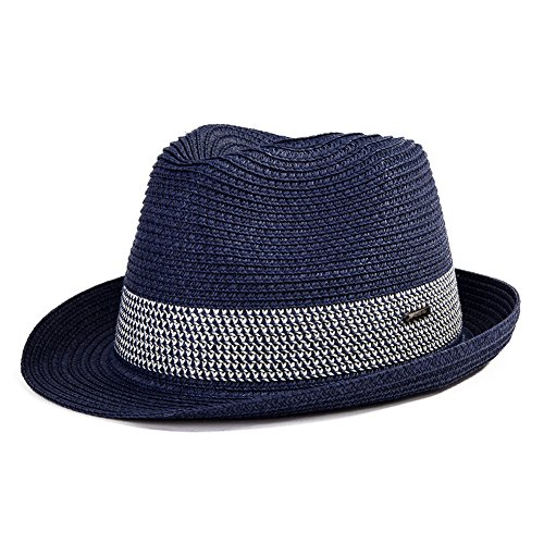 (Large Mens Straw Fedora Panama Summer Sun Beach Ventilated 24