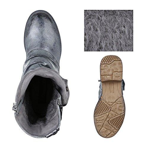 ... Stiefelparadies Damen Stiefeletten Metallic Biker Boots Leicht  Gefütterte Stiefel Block Absatz Booties Schnallen Schuhe Damenschuhe  Flandell 0e5cdbd7f9