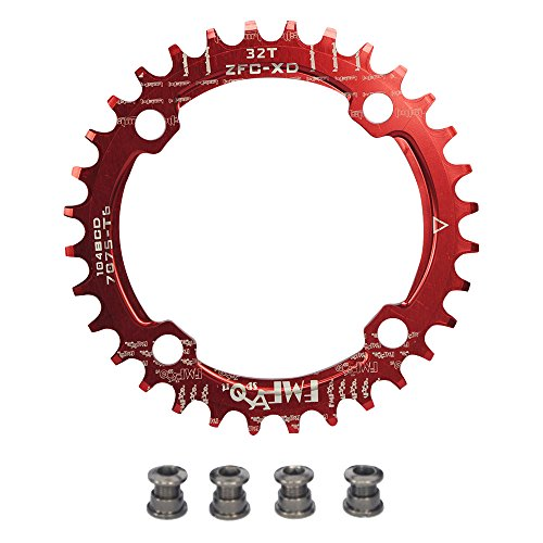 (UPANBIKE Bike Narrow Wide Chainring 104 BCD Round Shape Single Chain Ring 32T 34T 36T 38T)