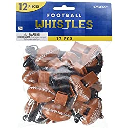 "Party Perfect Football Mini Whistle Favours, Plastic, 2"" x 1"" (Value Pack: 24 Count)"