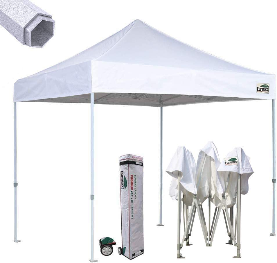 Eurmax Premium 10 x10 Ez Pop-up Canopy Tent Commercial Instant Canopies Shelter with Heavy Duty Wheeled Carry Bag White