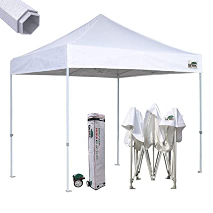 Eurmax Premium 10'x10' Ez Pop-up Canopy Tent Commercial Instant Canopies  Shelter with Heavy Duty Wheeled Carry Bag (White)