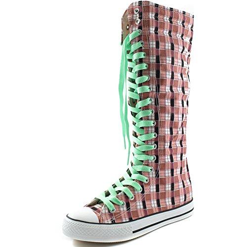 Dailyshoes Femmes Toile Mi-mollet Bottes Hautes Décontracté Sneaker Punk Plat, Rose Carreaux À Carreaux, Parfait Vert Dentelle