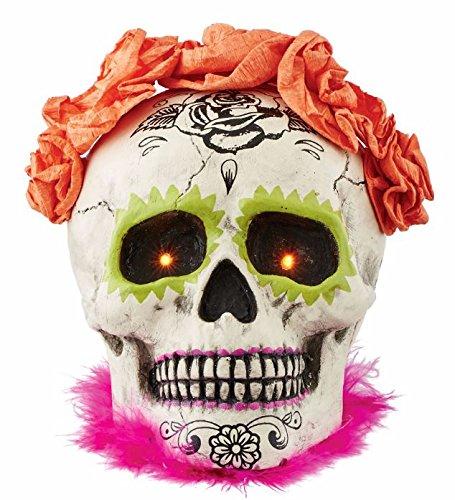 Department 56 Halloween Skeletons Day of the Dead Lit Skull Figurine, 5 inch -