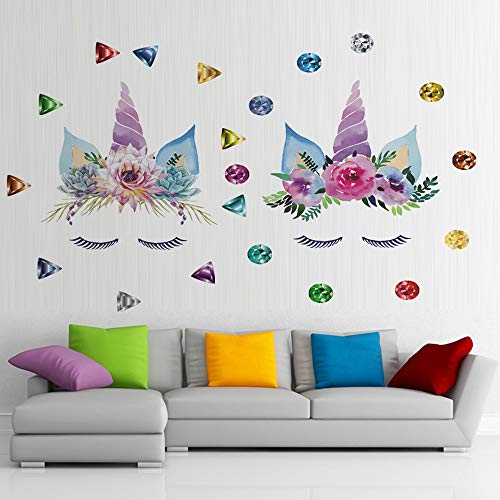 Jewels 3 D Sticker - BUCKOO Colorful Diamond&Gemstone Unicorn Wall Decal,Jewel Unicorn Wall Sticker,3D Art Decal Sticker, Child Room Nursery Wall Decoration Home Decor