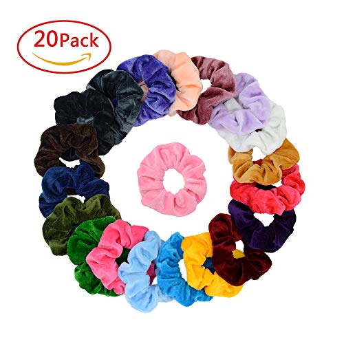 Simnice 20 Pcs Velvet Hair Scrunchies Elastic Hair Bands Scrunchy Hair Ties Ropes Scrunchie for Women or Girls Hair Accessories - 20 Assorted Colors Scrunchies by Simnice